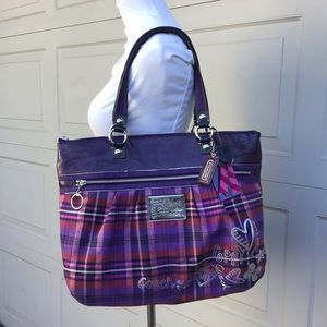 Coach Poppy Hearts Tartan Glam Plaid Tote